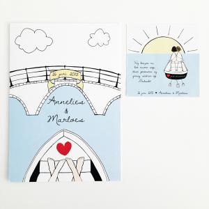 Trouwkaart en bedankje Annelies & Marloes